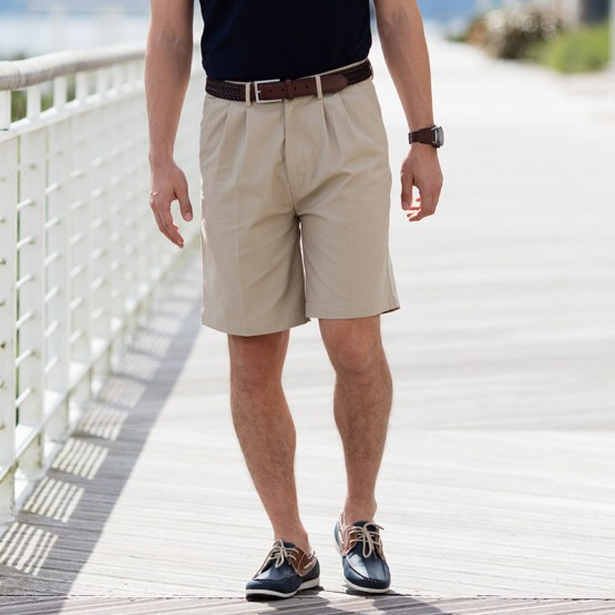 Teflon®-coated double pleat front chino shorts