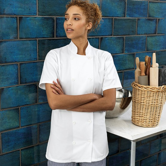 Women's short sleeve chef's jacket