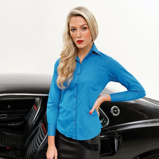 Women's poplin long sleeve blouse