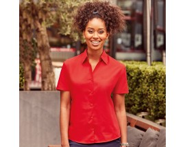 Women's short sleeve polycotton easycare poplin shirt